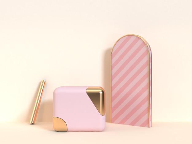 Cubo oro rosa oggetti astratti crema sfondo