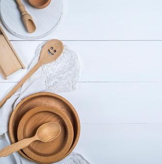 Cucchiai di utensili in legno, piatti