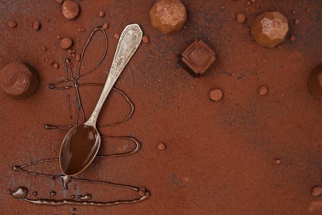 Cucchiaio con tartufi allo sciroppo di cioccolato e cacao in polvere
