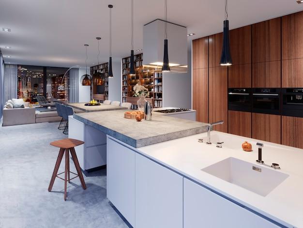 Cucina bianca dal design moderno con lampada