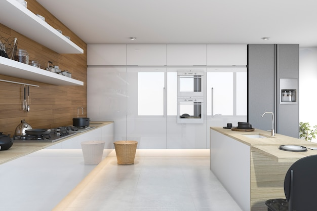 Cucina bianca del sottotetto della rappresentazione 3d con legno costruito dentro