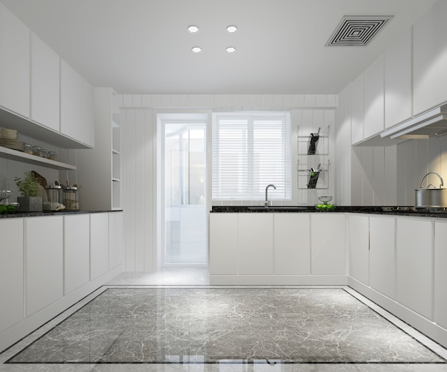 Cucina bianca minimal con arredamento moderno