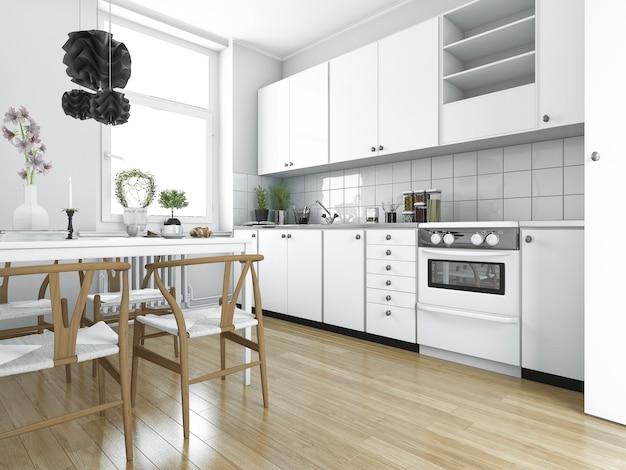 Cucina d'annata scandinava della rappresentazione 3d con il tavolo da pranzo