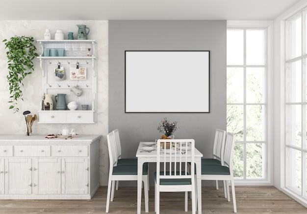 Cucina di campagna con cornice orizzontale vuota, sfondo di opere d'arte.