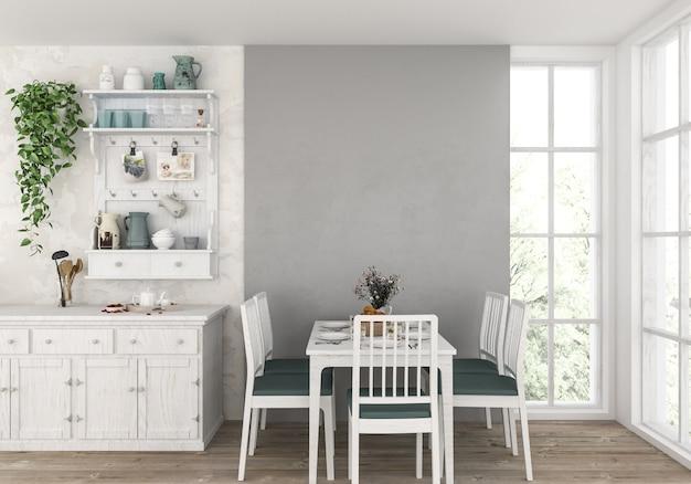 Cucina di campagna con parete vuota, sfondo di opere d'arte.