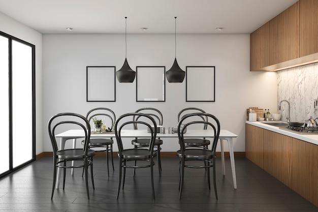 Cucina di legno del sottotetto della rappresentazione 3d con il tavolo da pranzo e derisione sul telaio