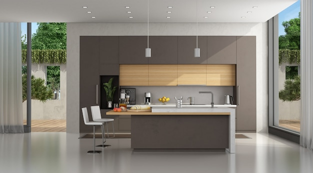 Cucina in cemento marrone di una villa moderna