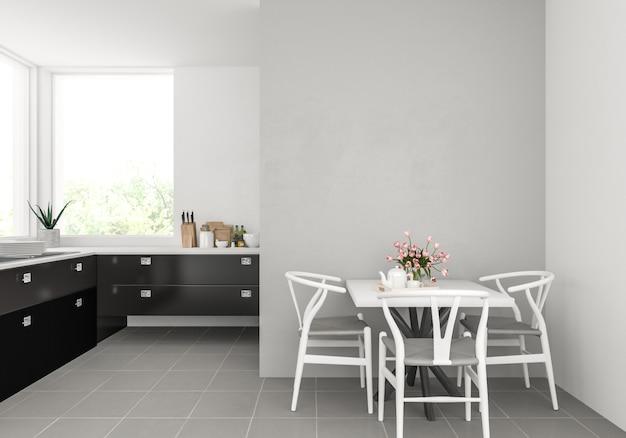 Cucina moderna con muro bianco