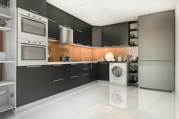 Cucina nera moderna del sottotetto della rappresentazione 3d con la lavatrice
