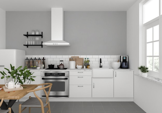 Cucina scandinava con muro bianco