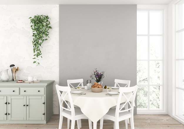 Cucina scandinava con parete vuota