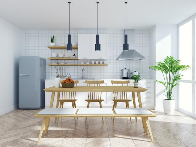 Cucina scandinava moderna e sala da pranzo interna, tavolo e sedia in legno con bancone bianco