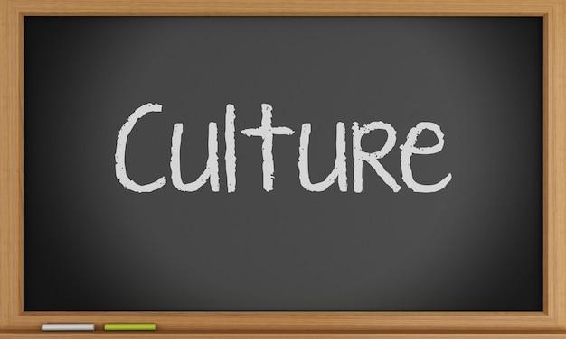 Cultura scritta sulla lavagna.