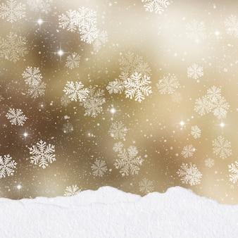 Cumuli di neve su uno sfondo d'oro di natale con pila di regali