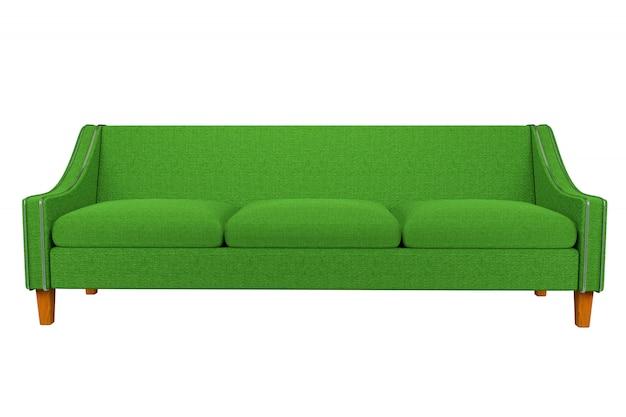 Cuoio verde del tessuto del sofà e della sedia nella priorità bassa bianca