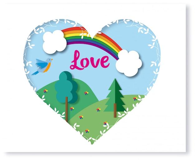 Cuore con decorazione e paesaggio all'interno. arcobaleno e fiori con i colori lgtb.