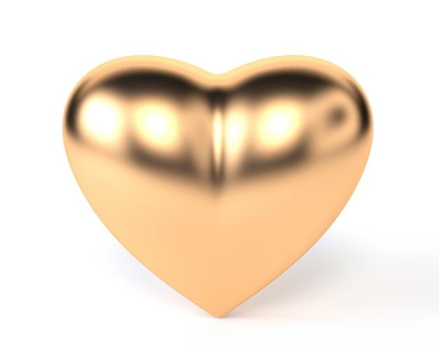 Cuore d'oro isolato su sfondo bianco.