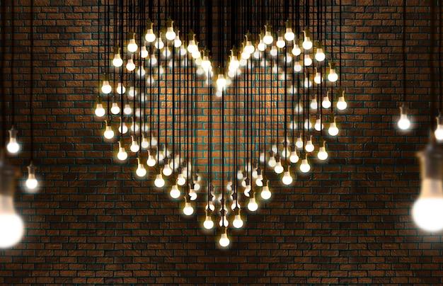 Cuore di lampadine, stile loft, san valentino e concetto di amore.