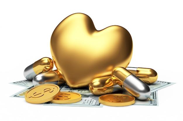 Cuore dorato e capsule mediche sulle banconote da un dollaro.