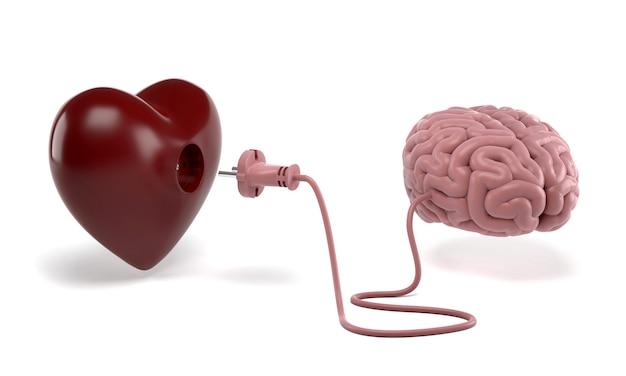 Cuore e cervello collegati con la spina di alimentazione