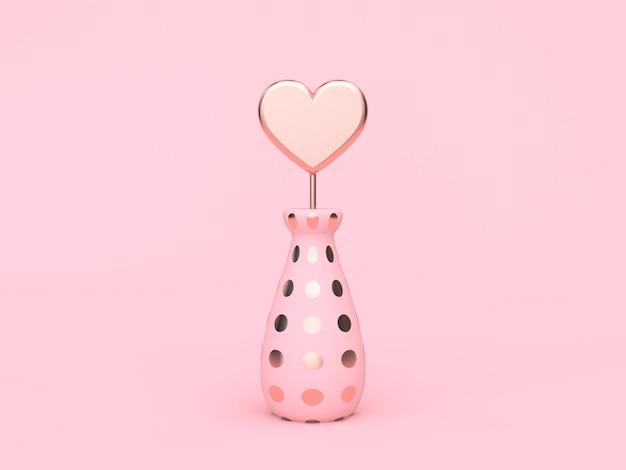 Cuore rosa metallico dell'oro in vaso-bottiglia amore valentine 3d rendering rosa