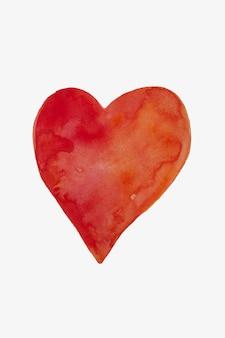 Cuore rosso disegnato a mano, progettazione di san valentino, festa della mamma.