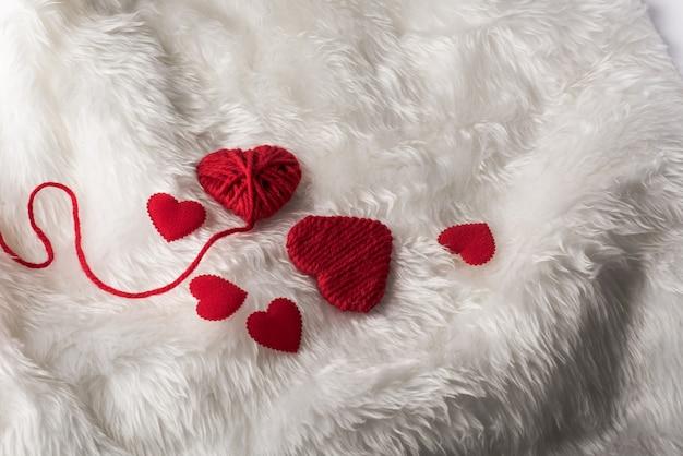 Cuore, san valentino, vista dall'alto, cuore rosso concetto di giorno di san valentino con spazio di copia