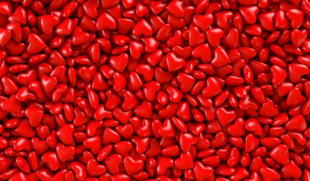Cuori rossi in una scatola. trama di sfondo di cuori. illustrazione di rendering 3d. san valentino.