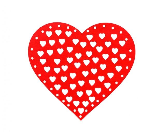 Cuori rossi isolati su sfondo bianco, cuore decorativo per san valentino