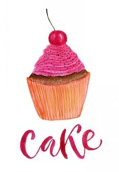 Cupcake acquerello carino con ciliegia. illustrazione luminosa