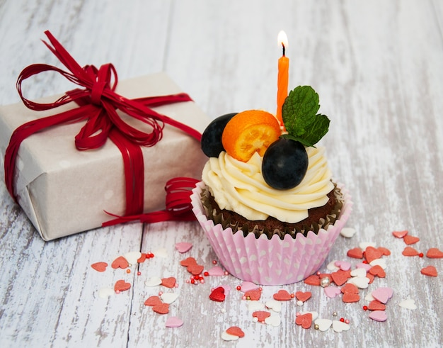 Cupcake con una candela