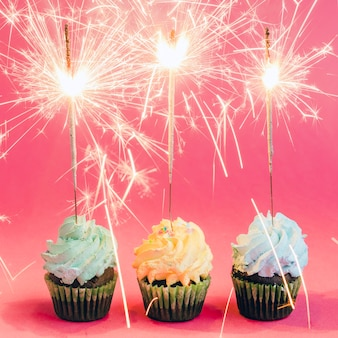 Cupcakes con sparklers