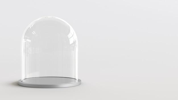 Cupola di vetro con vassoio d'argento su sfondo bianco. rendering 3d