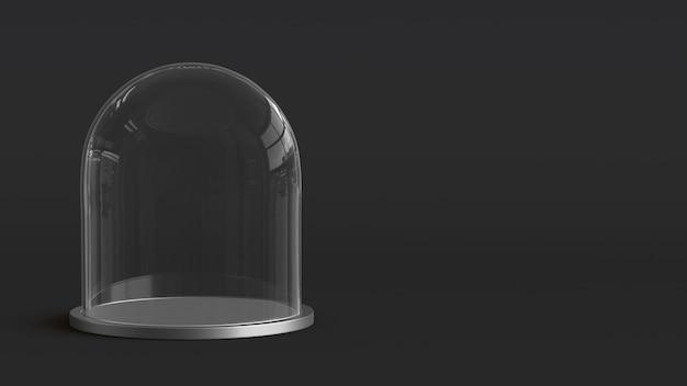 Cupola di vetro con vassoio d'argento su sfondo scuro. rendering 3d