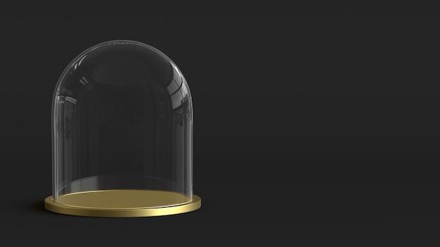 Cupola di vetro con vassoio dorato su sfondo scuro. rendering 3d