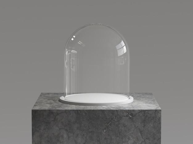 Cupola di vetro vuota con vassoio bianco sul podio di cemento. rendering 3d
