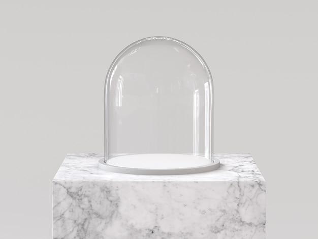 Cupola di vetro vuota con vassoio bianco sul podio di marmo bianco. rendering 3d