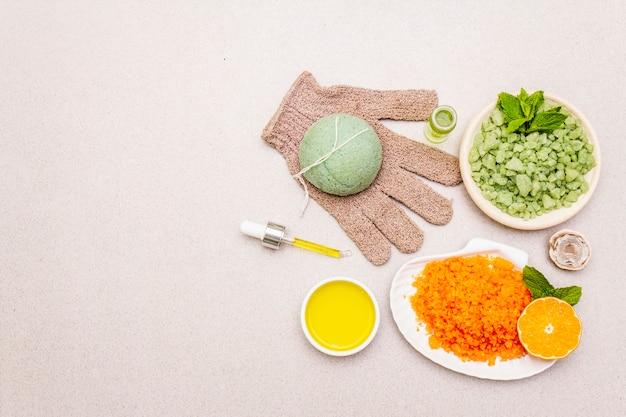 Cura di sé sana. stile di vita organico minimalista. comfort e farmacia naturale