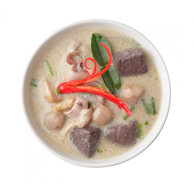 Curry piccante del pollo di thaifood in latte di cocco