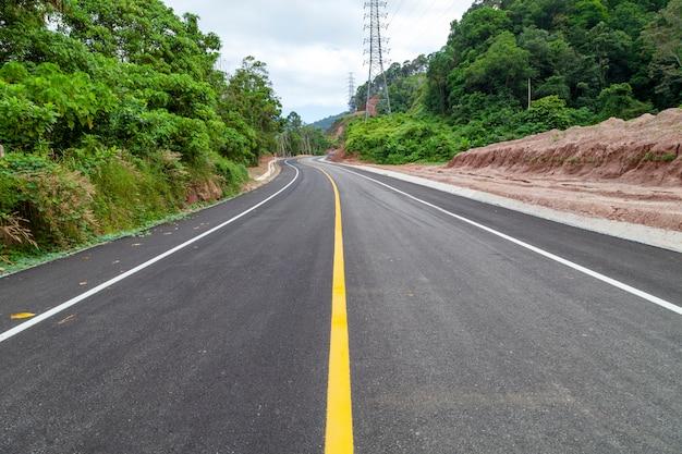 Curva della strada asfaltata con la linea gialla sulla strada