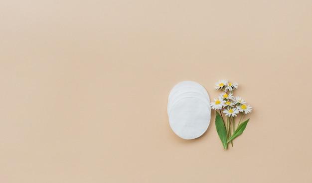 Cuscinetti di cotone e camomilla fresca su una parete beige. vista piana, vista dall'alto, copia spazio. assistenza sanitaria femminile