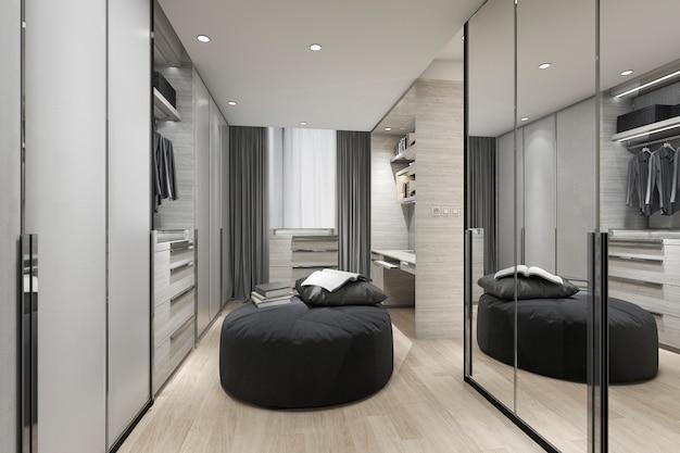 Cuscino nero della rappresentazione 3d in passeggiata scandinava nell'armadio con lo specchio sul guardaroba e sui vestiti