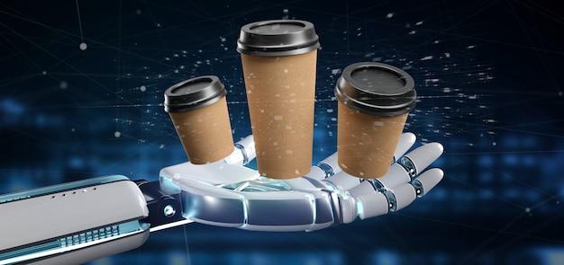 Cyborg che tiene un gruppo di tazza di caffè della scatola di cartone con la rappresentazione della connessione 3d