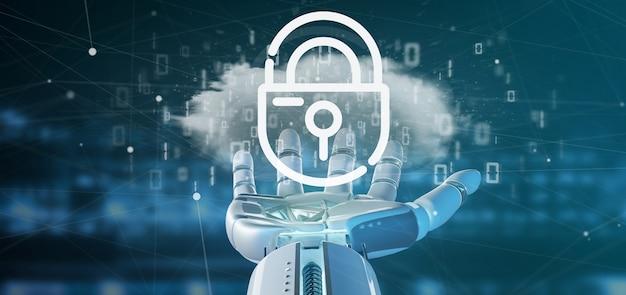 Cyborg che tiene una nuvola binaria con l'insegna della rappresentazione del lucchetto 3d di sicurezza di internet