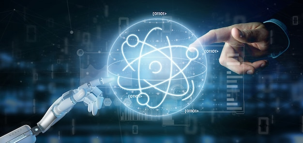 Cyborg con in mano un'icona atomica circondata da dati