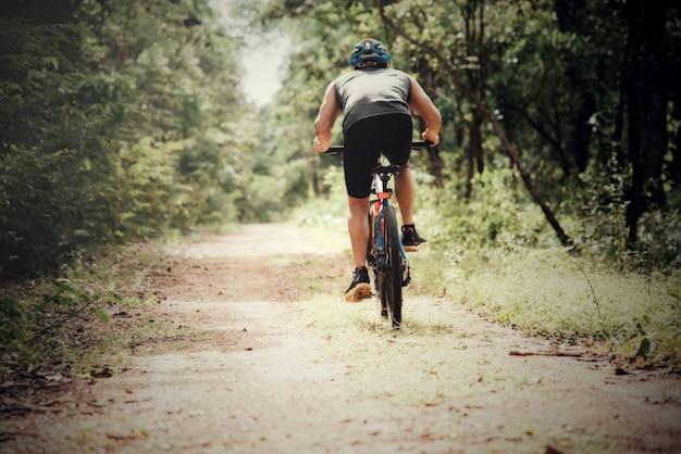 Cyclist man racing bike outdoor