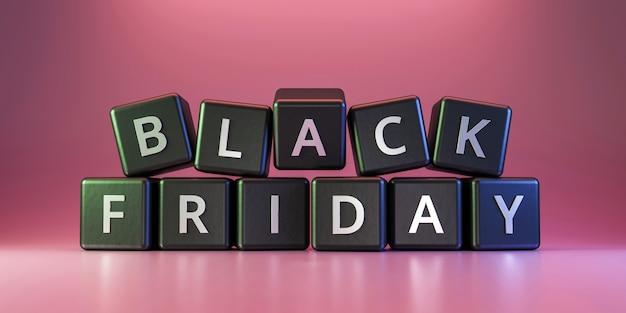 Dadi neri di venerdì con il ringraziamento e natale sul rosa. sconto e offerte speciali in vendita vacanze. rendering 3d realistico.