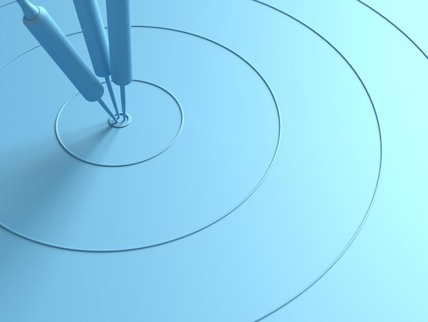 Dardi che colpiscono nel centro obiettivo concetto minimo