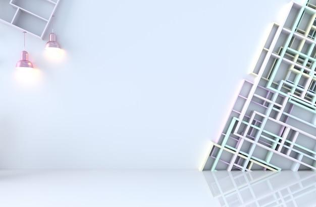 Decorazione della stanza bianca vuota con mensole a muro, pavimento di piastrelle, lampada. rendering 3d il sole splende attraverso la finestra nell'ombra.