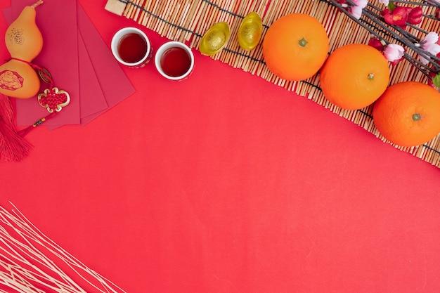 Decorazioni cinesi del festival del nuovo anno sane e arancio di ricchezza